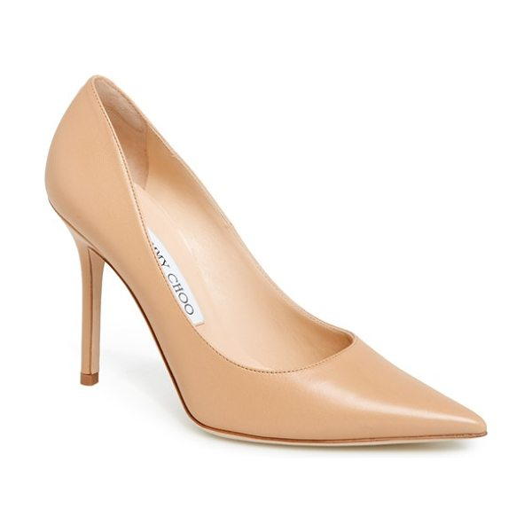 Jimmy Choo abel pump in nude - A slim heel balances the impeccably feminine cut of a...