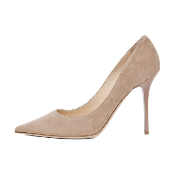 Jimmy Choo Abel 100 Suede Pumps in neutrals - Suede upper and sole.  Made in Italy.  Approx 110mm/ 4.3...