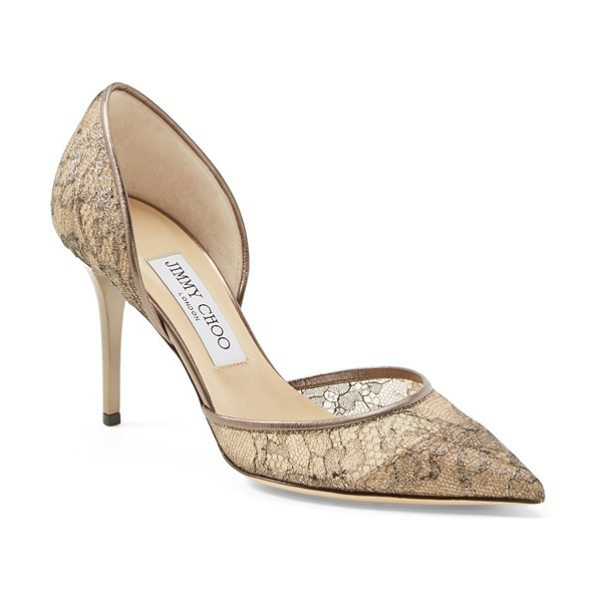 Jimmy Choo addison dorsay pump in bronze - Lavish metallic lace brings scene-stealing glamour to a...