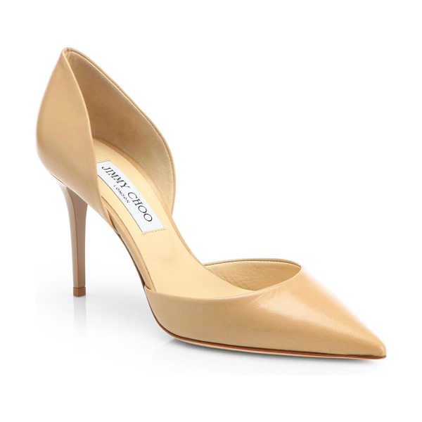 Jimmy Choo addison 80 leather d'orsay pumps in nude - Try a leather d'Orsay silhouette for an elegant twist on...