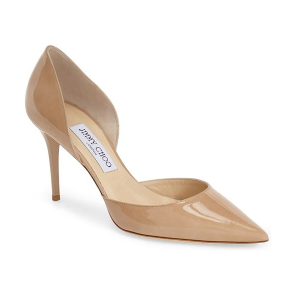 Jimmy Choo addison dorsay pump in nude - A sleek pointy toe and stiletto heel lengthen the lines...