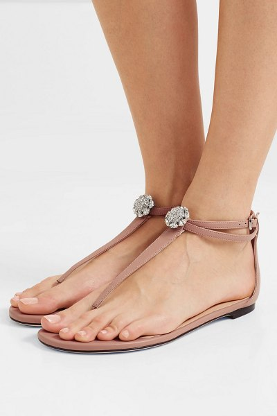 Jimmy Choo afia crystal-embellished leather sandals in baby pink - Jimmy Choo's 'Afia' sandals are a lovely choice if...