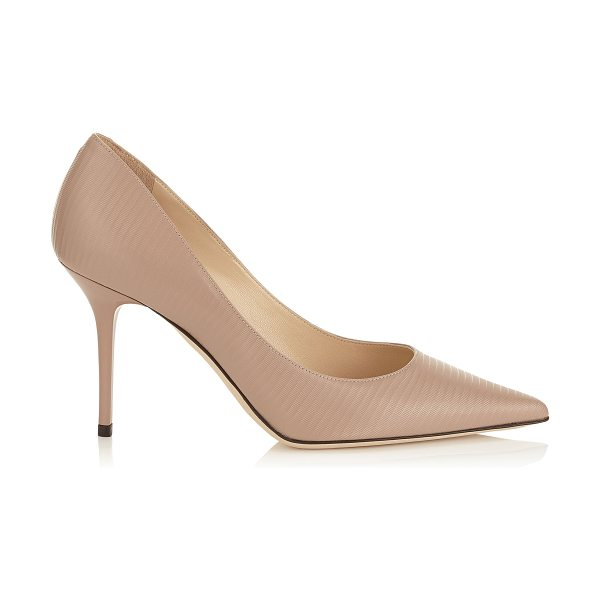 JIMMY CHOO Agnes ballet pink embossed striped leather pointy toe pumps in ballet pink - The Agnes pointy toe pump is characterized by its clean,...