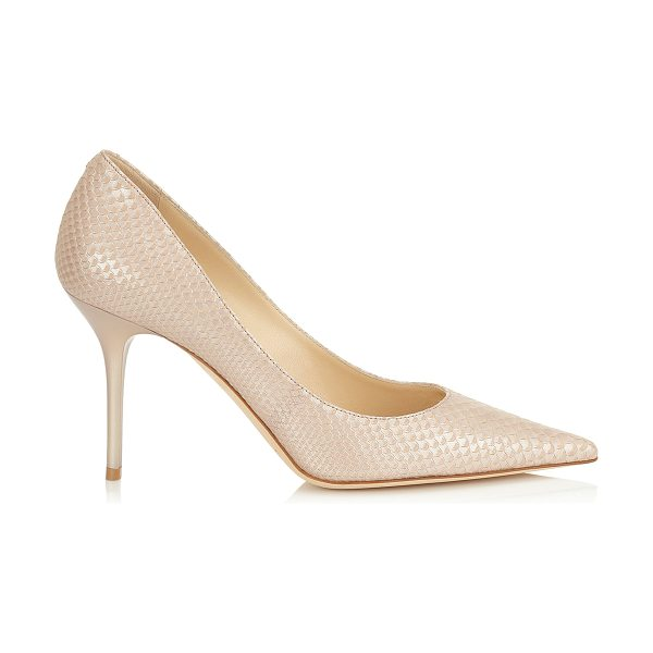 Jimmy Choo Agnes nude pearlised printed leather pointy toe pumps in nude - A pointy toe pump in a clean, simple silhouette, on an...