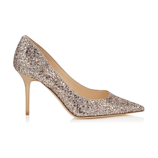 JIMMY CHOO AGNES Nude Shadow Coarse Glitter Fabric Pointy Toe Pumps - The Agnes pointy toe pump is characterized by its clean,...