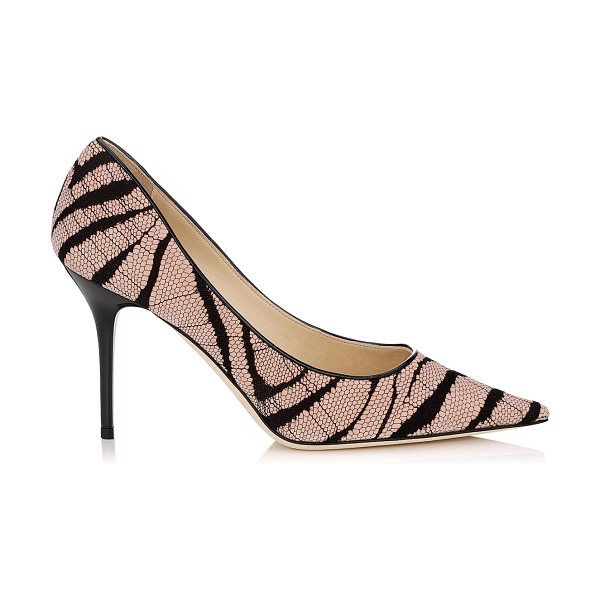 Jimmy Choo Agnes vintage rose zebra lace on suede pointy toe pumps in vintage rose - A pointy toe pump in a clean, simple silhouette, on an...