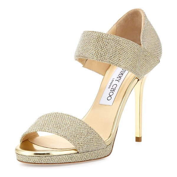 JIMMY CHOO Alana Glitter Double-Band Sandal - Jimmy Choo glitter fabric sandal. Metallic leather trim....