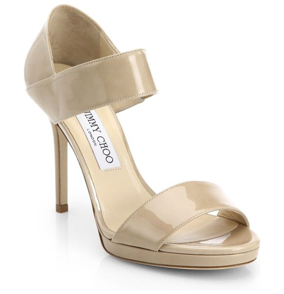 Jimmy Choo Alana patent leather wide-strap sandals in beige - These strappy patent leather sandals with a stiletto...