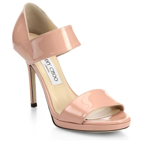 Jimmy Choo Alana patent leather wide-strap sandals in blush - These strappy patent leather sandals with a stiletto...