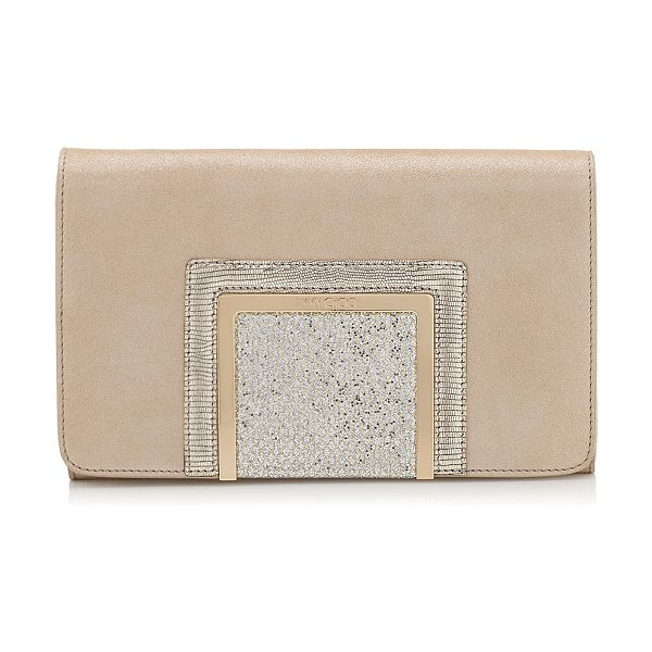 JIMMY CHOO Alara champagne shimmer suede and glitter fabric clutch bag in champagne - Alara is a new modern day-to-night clutch bag,...