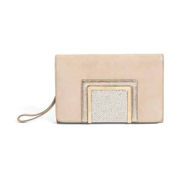 JIMMY CHOO Alara glitter suede clutch - Logo-etched hardware lends a touch of signature glamour...