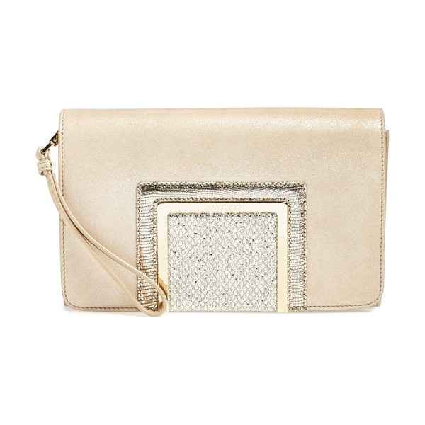 Jimmy Choo Alara metallic suede clutch in champagne - Logo-etched hardware lends a touch of signature glamour...