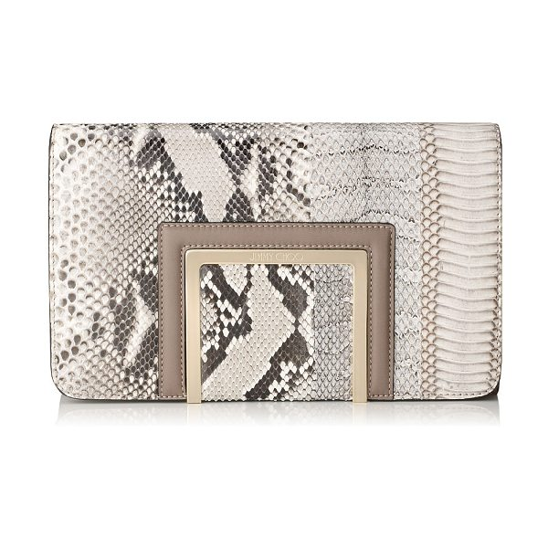 Jimmy Choo Alara natural striped exotic patchwork and soft smooth leather clutch bag in natural mix - Alara is a new modern day-to-night clutch bag,...