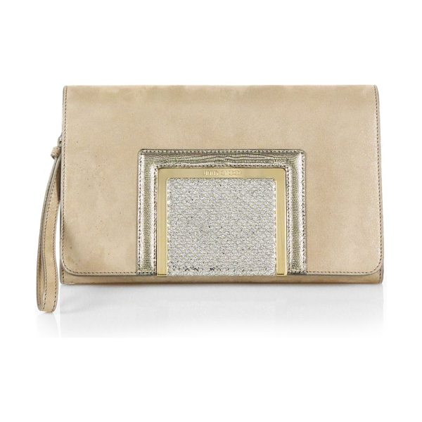 Jimmy Choo Alara shimmer mixed-media clutch in champagne - Infuse your party portfolio with a touch of drama...