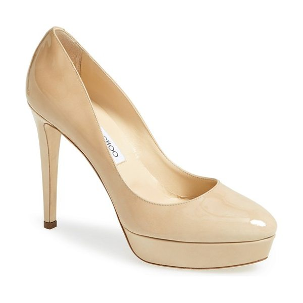 Jimmy Choo alex platform pump in nude - The latest platform pump from Jimmy Choo serves up...