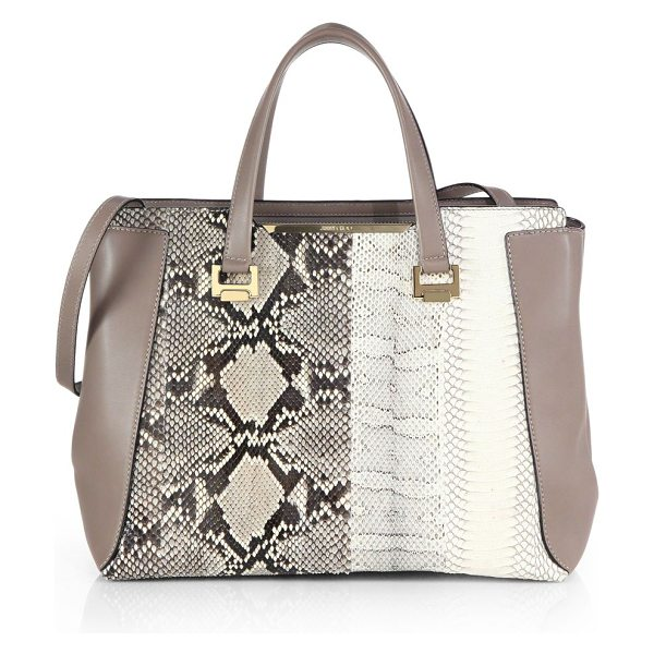Jimmy Choo Alfie medium python-embossed tote in natural - Crafted from multitonal python-embossed leather, this...