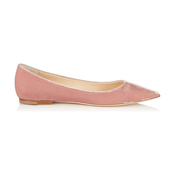 Jimmy Choo Alina ballet pink velvet pointy toe flats in ballet pink - A pointy toe flat pump in a clean, simple silhouette....