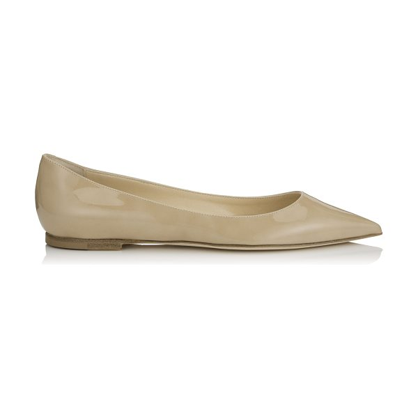 Jimmy Choo ALINA Nude Patent Pointy Toe Flats in nude - A pointy toe flat pump in a clean, simple silhouette....