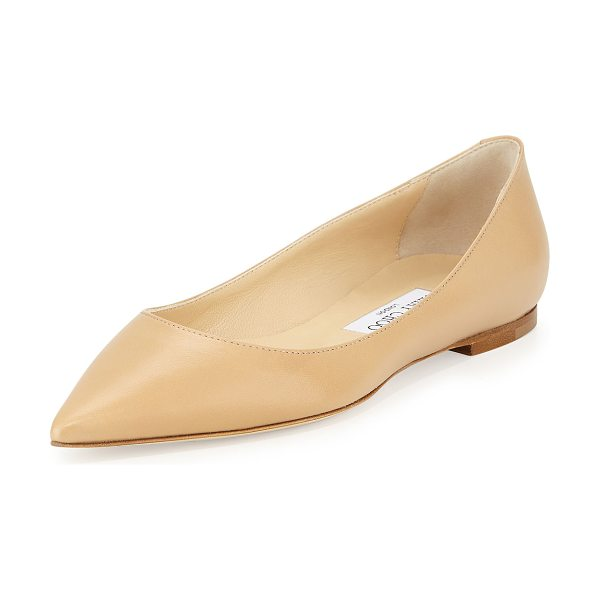 Jimmy Choo Alina pointy leather flat in nude - Jimmy Choo kidskin leather skimmer. Topstitched collar....