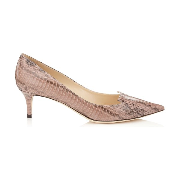 Jimmy Choo Allure ballet pink glossy panelled elaphe pointy toe pumps in ballet pink - Characterised by its cut out tongue detailing across the...