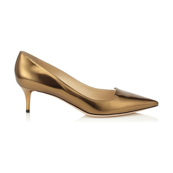 Jimmy Choo Allure honey gold mirror leather pointy toe pumps in honey gold - Characterised by its cut out tongue detailing across the...