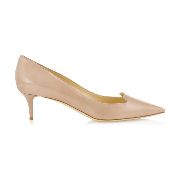Jimmy Choo ALLURE Nude Patent Leather Pointy Toe Pumps in nude - The pretty toe shape and low heel make these the perfect...