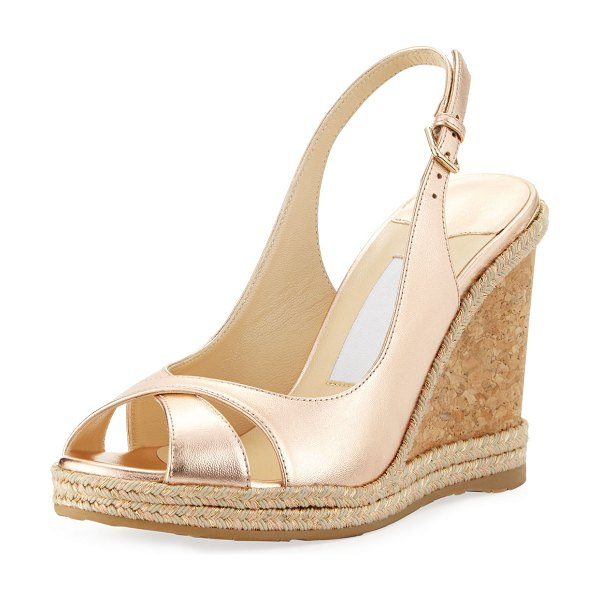"Jimmy Choo Amely 105mm Metallic Leather Cork Wedge Sandals in ballet pink - Jimmy Choo ""Amely"" napa leather sandal. 4.3"" cork and..."