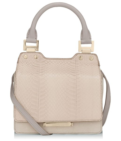 Jimmy Choo Amie s almond elaphe and nubuck leather small tote bag in almond - Modern yet ladylike, Amie S is inspired by quirky bag...