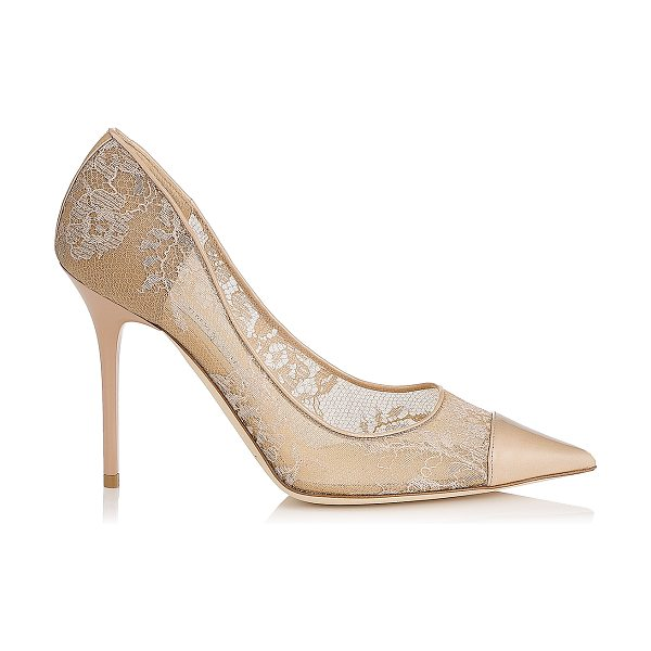 Jimmy Choo Amika nude lace and patent pointy toe pumps in nude/nude - Romantic lace feels modern on the sharp silhouette of...