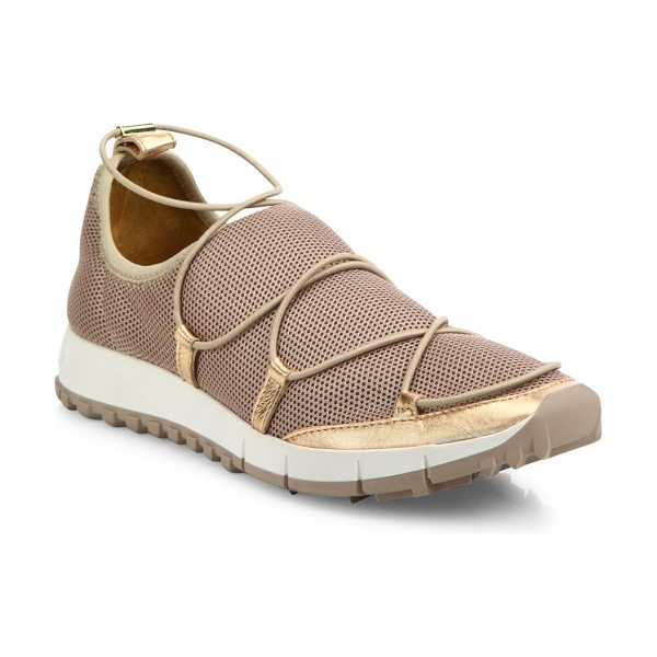Jimmy Choo andrea metallic mesh lace-up sneakers in tea rose - Metallic mesh slip-on sneaker with elasticized lacing....