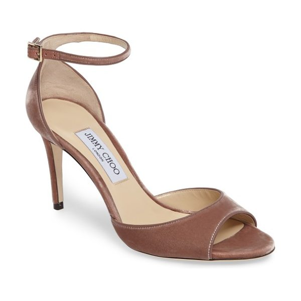Jimmy Choo jimmy choo annie ankle strap sandal in ballet pink velvet - With a slender ankle strap and a velvety finish, this...