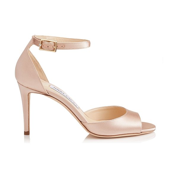 JIMMY CHOO ANNIE 85 Dusty Rose Satin Peep Toe Sandals - Crafted in dusty rose satin, the Annie peep toe sandal...