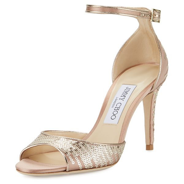 "Jimmy Choo Annie Sequined 85mm Sandal in pink/gold - Jimmy Choo sequined satin sandal. 3.3"" covered heel...."