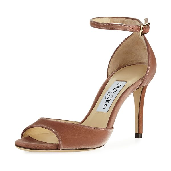 "Jimmy Choo Annie Velvet 85mm City Sandal in pink - Jimmy Choo velvet city sandal. 3.3"" covered stiletto..."