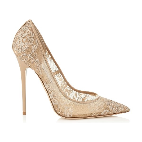 Jimmy Choo Anouk nude lace pointy toe pumps in nude - The Anouk pointy toe pump is characterized by its clean,...