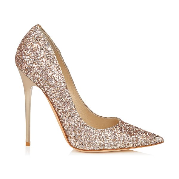 Jimmy Choo Anouk nude shadow coarse glitter fabric pointy toe pumps in nude - The Anouk pointy toe pump is characterized by its clean,...