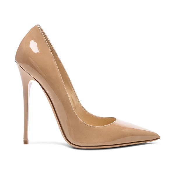 Jimmy Choo Anouk Patent Heel in nude - Patent leather upper with leather sole.  Made in Italy. ...