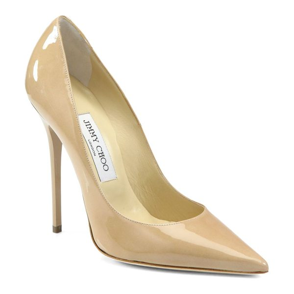 JIMMY CHOO anouk patent leather point toe pumps in nude - A classic silhouette is executed in sleek patent...