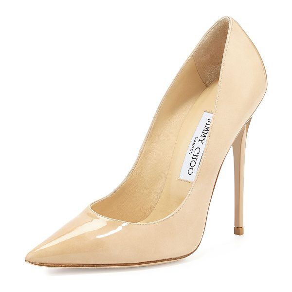 "Jimmy Choo Anouk Patent Leather Pump in nude - Jimmy Choo patent leather pump. 4.8"" stiletto heel...."