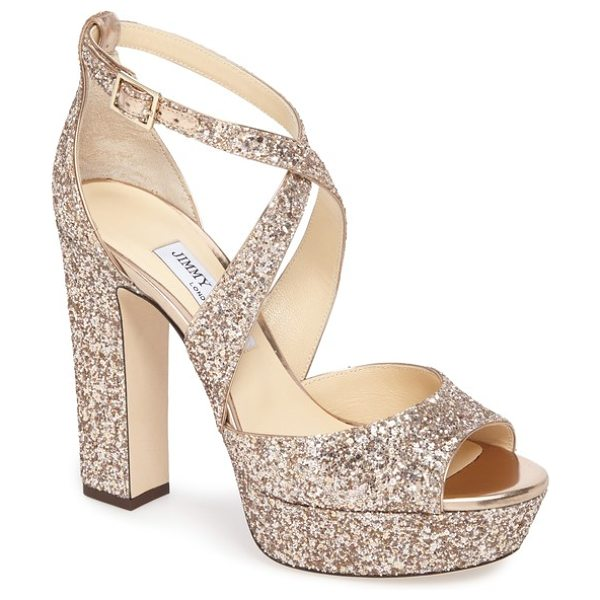 JIMMY CHOO april glitter platform sandal - Lightly tapered straps cross gracefully up the front of...
