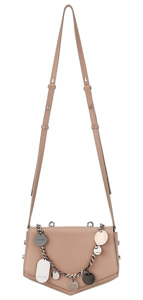 JIMMY CHOO ARROW Ballet Pink Soft Grained Leather Cross Body Bag with Chain and Charms in ballet pink - Reflective of its name, this cross body bag's softly...