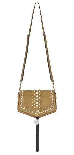 Jimmy Choo ARROW Hazel Suede Cross Body Bag with Punk Studs in hazel - Reflective of its name, the Arrow suede cross body bag's...