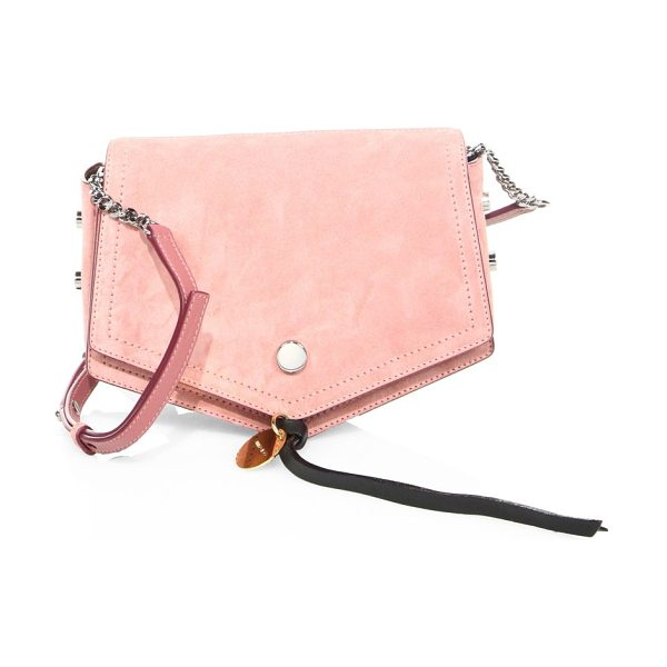 Jimmy Choo arrow studded suede crossbody bag in vintage rose - Softly pointed suede shape with polished side studs....