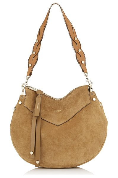 Jimmy Choo ARTIE Hazel Suede and Cuoio Leather Mix Shoulder Bag in hazel/cuoio - Introducing Artie, a timeless hazel shoulder bag with a...