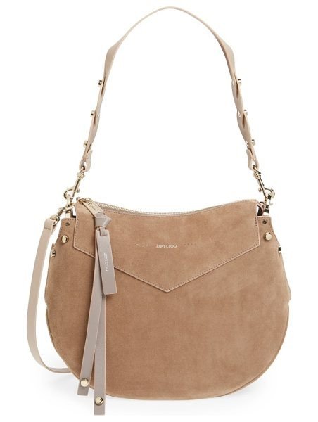 Jimmy Choo artie suede hobo bag in light mocha - At once timeless yet practical, Jimmy Choo's Artie Hobo...