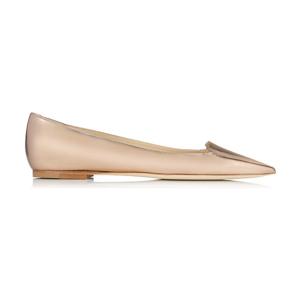 Jimmy Choo Attila nude mirror leather pointy toe flat pumps in nude - Wear these dainty flat pumps, with cute cut out toe...