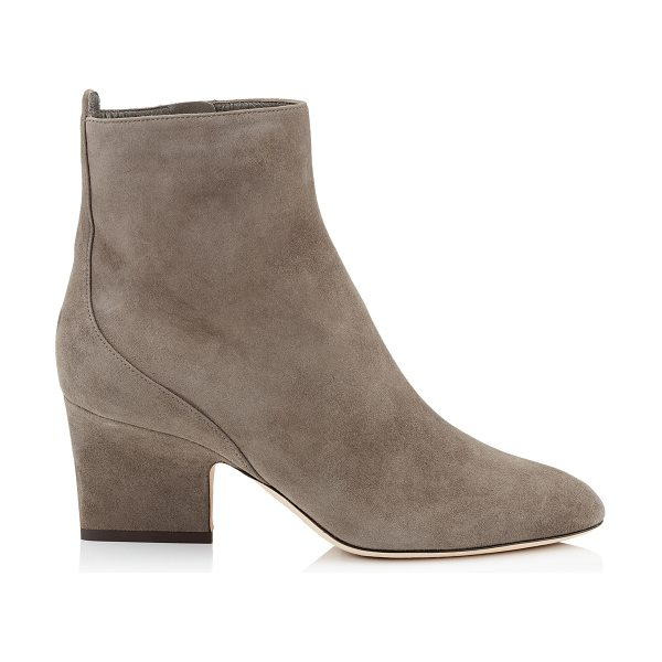 Jimmy Choo AUTUMN 65 Mink Suede Round Toe Booties in mink - Autumn in suede mink is an easy to wear ankle bootie...