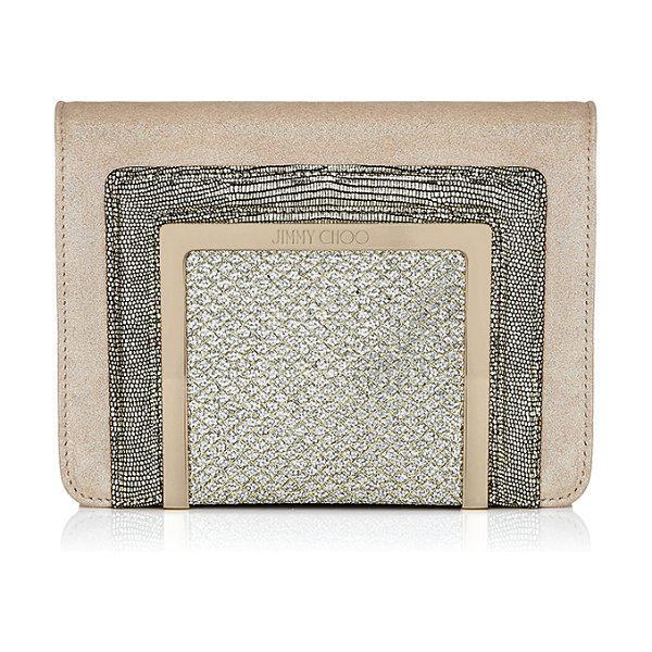 Jimmy Choo Ava champagne shimmer suede and glitter fabric clutch bag in champagne - Ava is a new compact clutch bag for Jimmy Choo. It can...