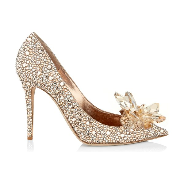 Jimmy Choo AVRIL Golden Crystal Covered Pointy Toe Pumps in golden mix - Layered from toe to heel in luxurious Swarovski...