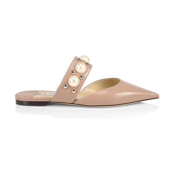 Jimmy Choo basette embellished leather mules in ballet pink